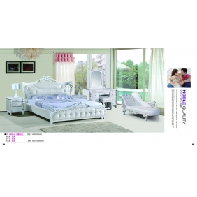 monochrome bed with decorative pattern